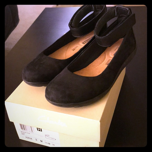 52fb720ab3df Clarks Shoes - Clarks Medora Nina Black Ankle Strap Flats